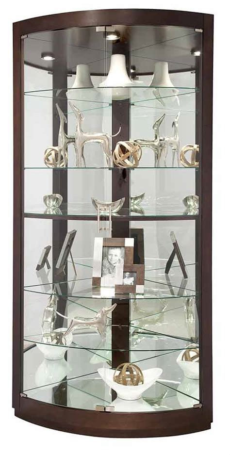 glass curio cabinet 680603 howard miller espresso finish curved glass doors