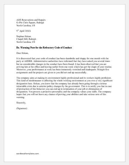 Warning Letter to an Employee for not Complying | Word
