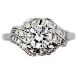 vintage engagement ring in antique platinum setting 1ct raymond jewelers - Antique Engagement Rings For Sale