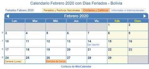 calendario febrero imprimir bolivia