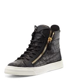 62365 High Noon Books Promo Code by Giuseppe Zanotti Crocodile Print High Top Sneaker Nero