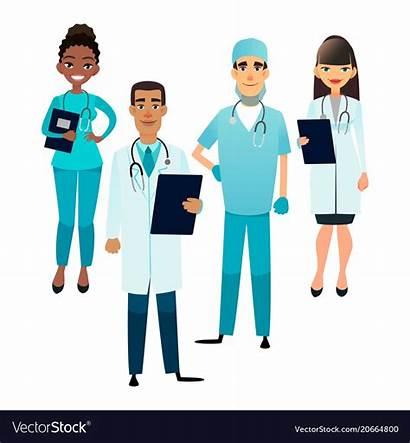 Nurses Cartoon Doctors Medical Staff Team Vector