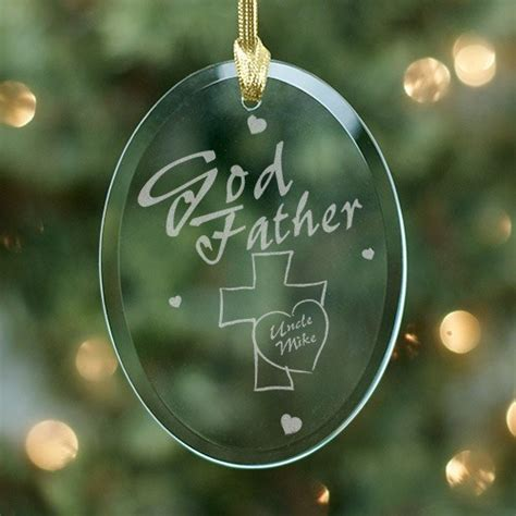personalized godfather christmas ornament glass