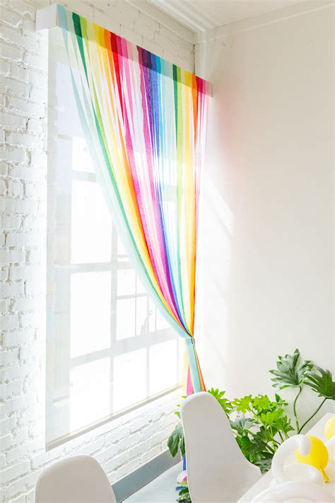 diy rainbow streamer curtains  house  lars built