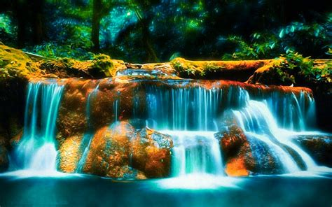 3d waterfall desktop wallpaper free wallpaper bits