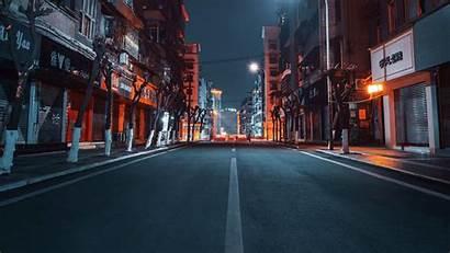 Road Buildings Night 4k Street Background Uhd