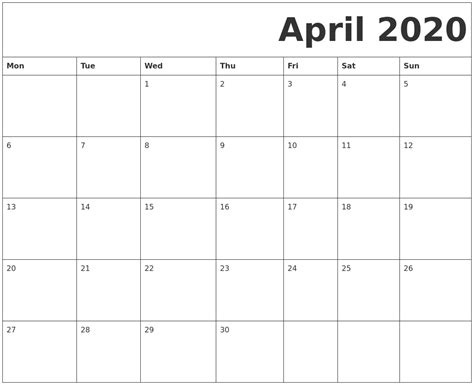 april printable calendar