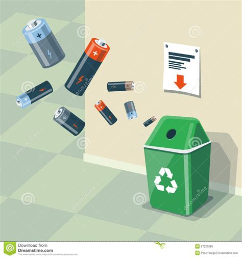used batteries recycling bin trash stock vector image