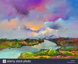 Peinture Bleu Ciel : peinture l 39 huile abstrait paysage bleu ciel color violet une peinture l 39 huile sur toile ~ Melissatoandfro.com Idées de Décoration