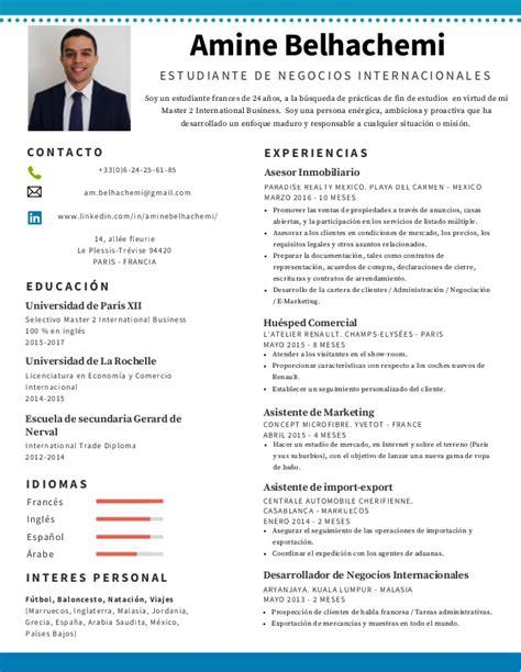 Modele Curriculum by Cv Etudiant Commerce International