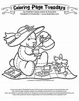 Tea Coloring Party Pages Teddy Bear Picnic Drawing Boston Nancy Fancy Colouring Sheets Adult Birthday Bears Adults Dulemba Sketch Parties sketch template
