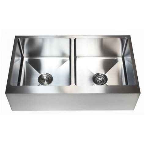 double bowl apron front sink 36 inch stainless steel flat front farm apron 50 50 double
