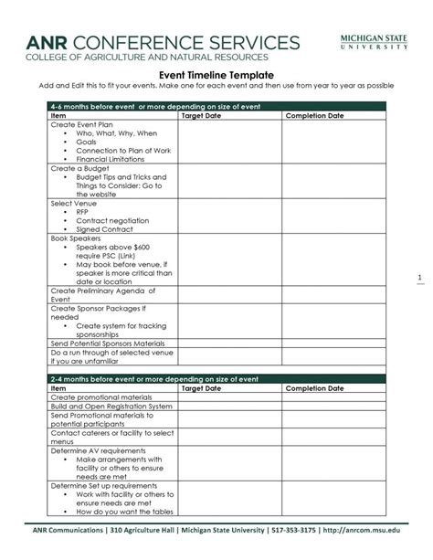 event planning timeline template word  format