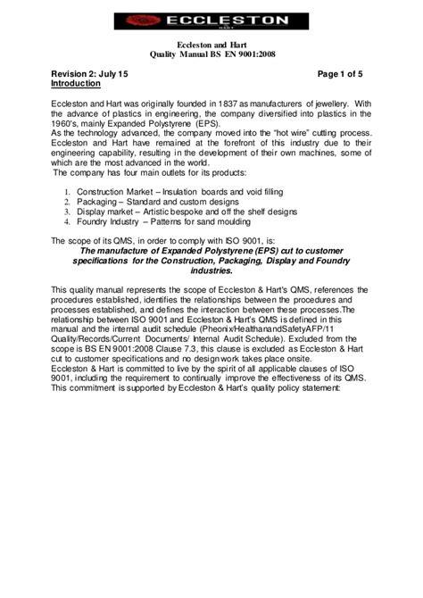 Resume Rev 2015 by Sle Quality Manual Template 3 Quality Manual Template Guidance Exle Quality Manual