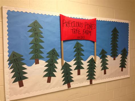 paper christmas tree bulletin board tree winter bulletin board quot precious pines tree farm quot sign made with bulletin board