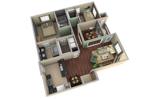 Modern House Layout by 3d Two Bedroom House Layout Design Plans 22449 Interior