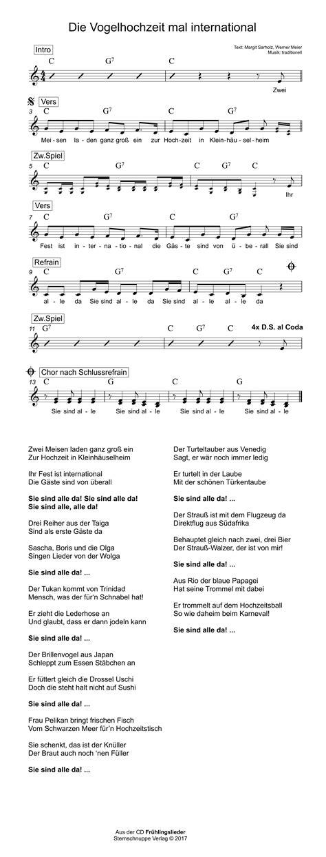 die vogelhochzeit mal international kinderlieder texte
