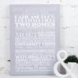 Personalised Silver Wedding Anniversary Print By Milly