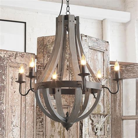 wooden wine barrel stave chandelier metals and