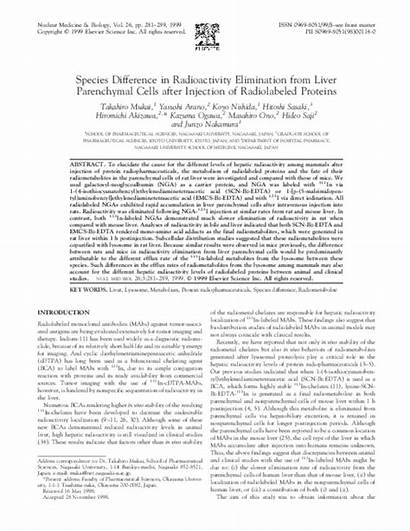 Elimination Proteins Parenchymal Injection Radioactivity Liver Radiolabeled