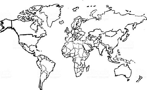 black pencil drawing sketched world map  white