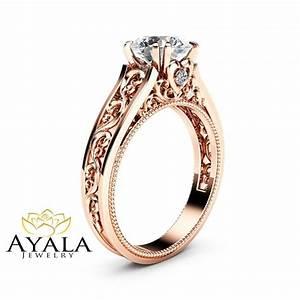 rose gold moissanite engagement ring milgrain moissanite With vintage wedding rings rose gold