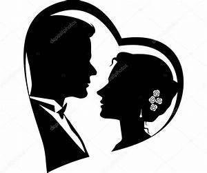 Dessin Couple Mariage Noir Et Blanc : sagome di coppia di innamorati vettoriali stock ~ Melissatoandfro.com Idées de Décoration