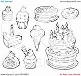 Dessert Coloring Desserts Pages Cakes Ice Cream Clipart Outlined Illustration Visekart Royalty Vector Within Print Desert sketch template