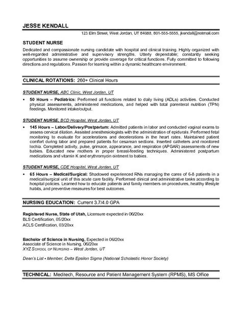 Exles Of Objective Statements For Nursing Resumes by Exle Student Resume Free Sle Nursing School Student