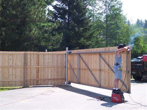 Large Sliding Wooden Fence Gates/ Steel Frame.