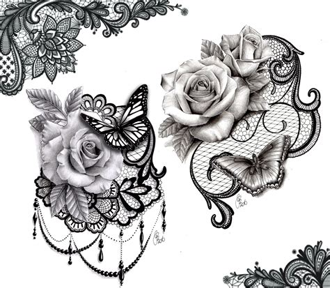 lace butterfly rose tattoo design ink tattoos lace