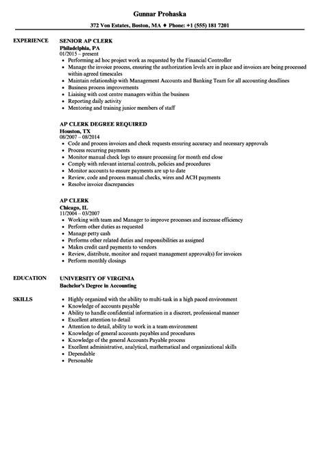 resume accounts payable description resume sle