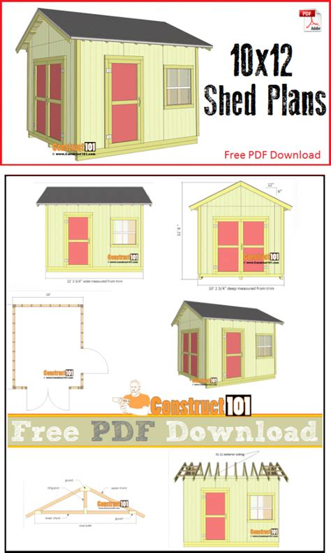 10 by 12 shed plans free shed plans 10x12 gable shed pdf construct101