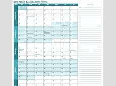 Printable calendar 2018 annual with notes space