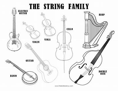 Instruments Musical Coloring Strings Sheet Worksheets Kindergarten