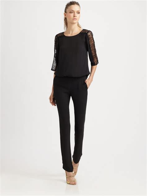 lace jumpsuit black black jumpsuit with lace sleeves clothing