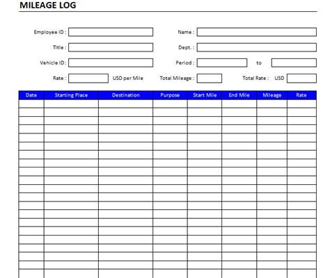printable mileage log examples   excel ms