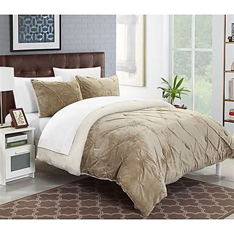 Sherpa Lined Comforter - chic home adele sherpa lined comforter set bed bath beyond