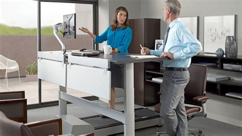 auto height adjustable desk walkstation treadmill desk for office wellbeing steelcase
