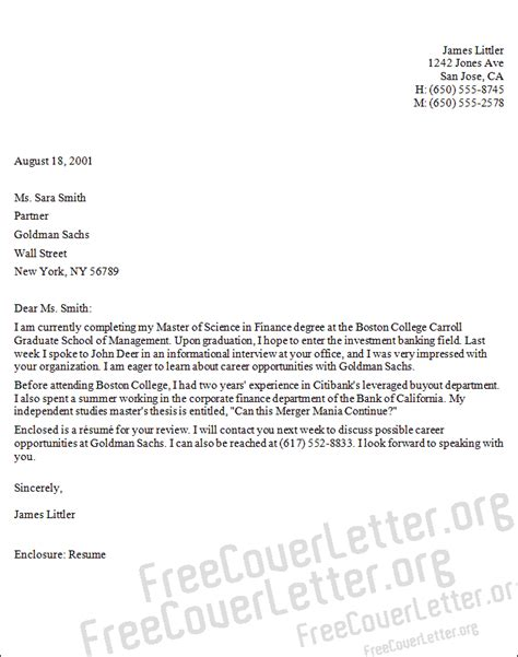 Cover Letter Investment Banking by Investment Banking Cover Letter Sle