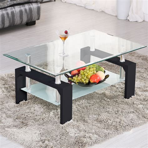 Wood Living Room Side Table by Modern Rectangular Black Glass Coffee Table Chrome Shelf