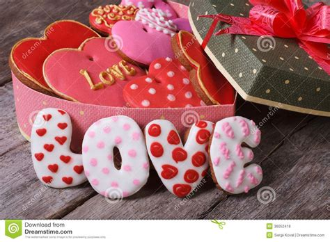 gift box  hearts ginger cookies love stock photo
