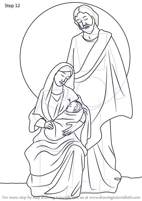 learn   draw holy family nativity scene christmas