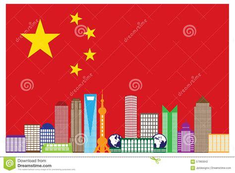 Shanghai City Skyline In China Flag Vector Illustration