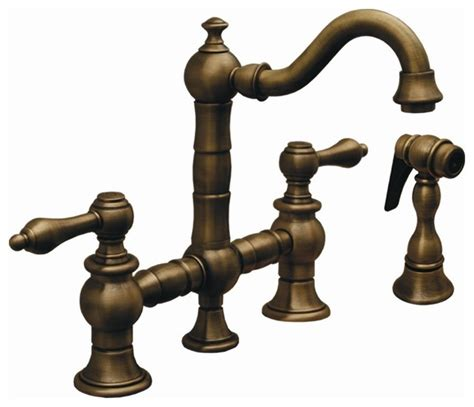 rustic kitchen faucets iii bridge kitchen faucet w side spray rubbed bronze