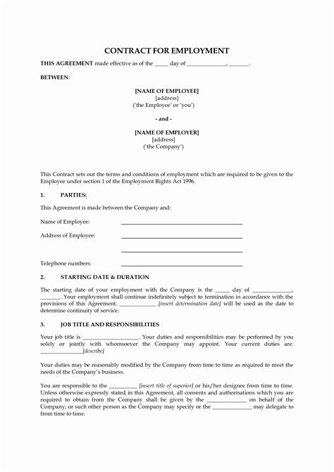 50 Beautiful Employment Contract Template Free Download in 2020 | Contract template, Templates