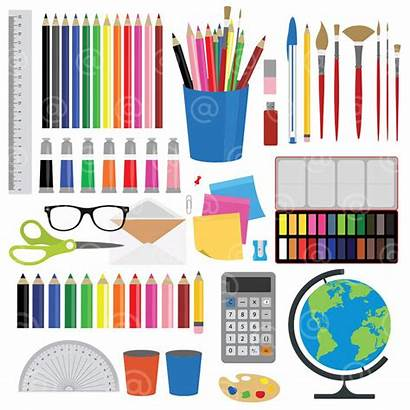 Stationery Supplies Clipart Office Creative Vector Projects