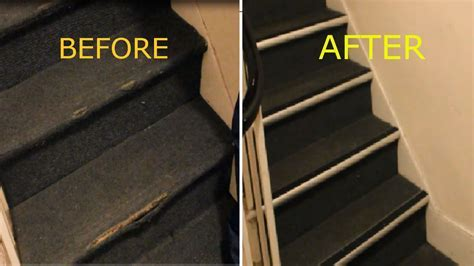 How to Repair Damaged Carpet on Stairs, nosing strip   YouTube