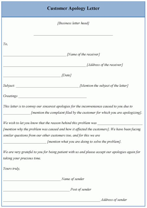 letter template  customer apology template  customer