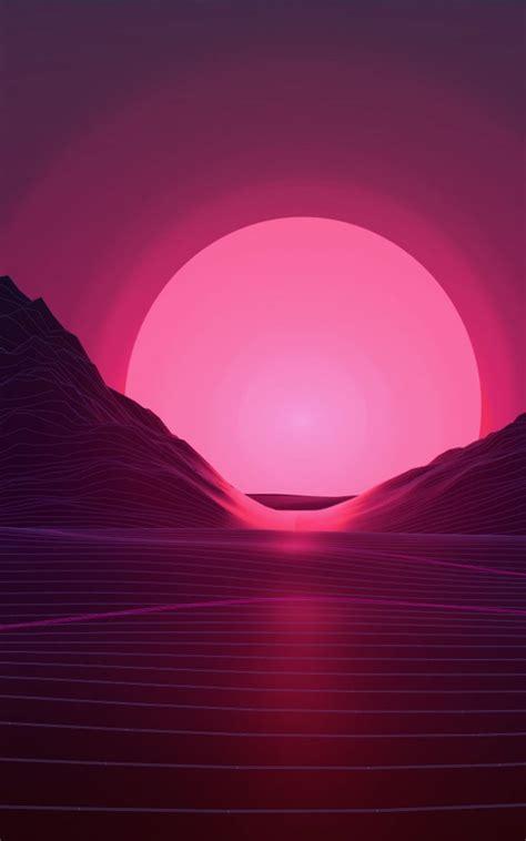 neon pink sunset artwork free 4k ultra hd
